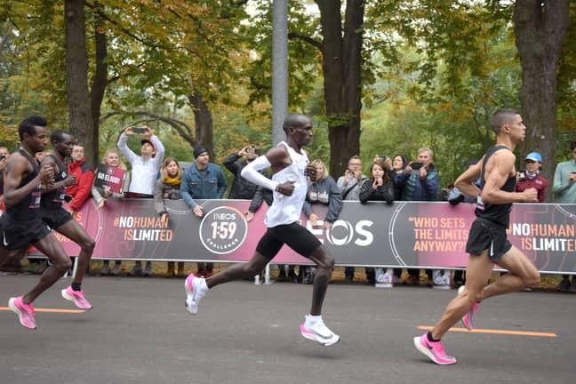 Eliud Kipchoge has run the first sub-two-hour marathon in Vienna. Credit: PA