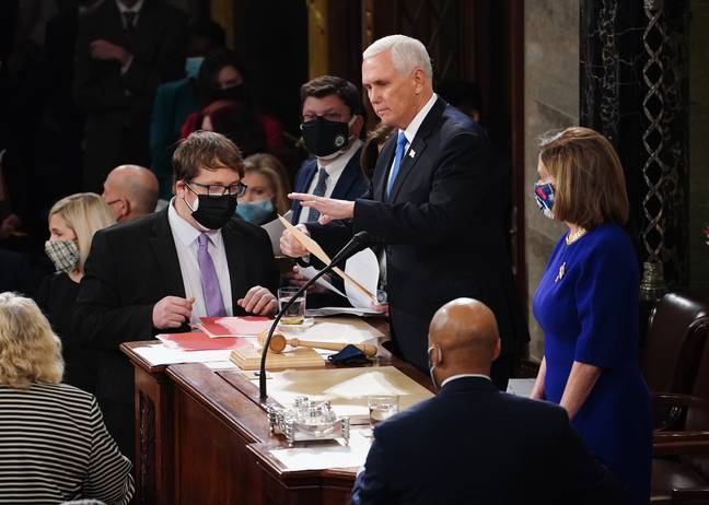 Vice President Mike Pence was also in the Capitol today. Credit: PA