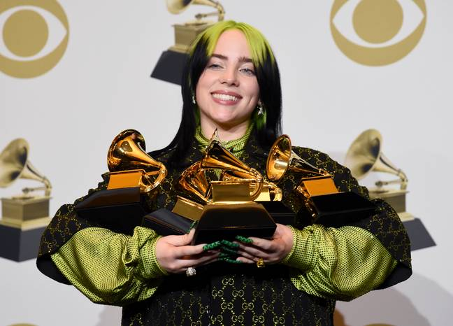 Eilish cleaned up at the Grammys. Credit: PA
