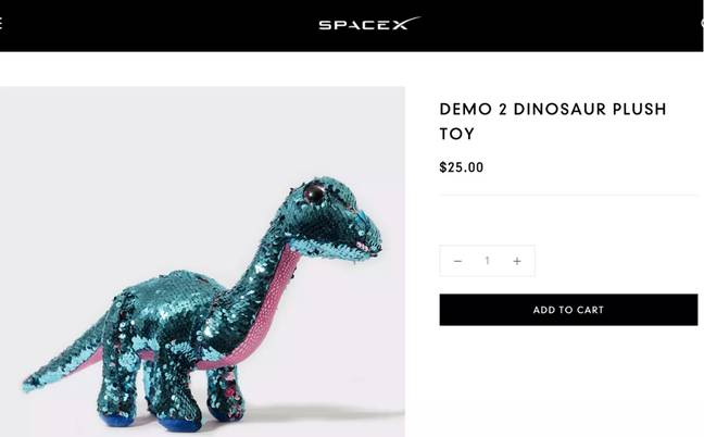 The toy quickly disappeared from the site. Credit: SpaceX