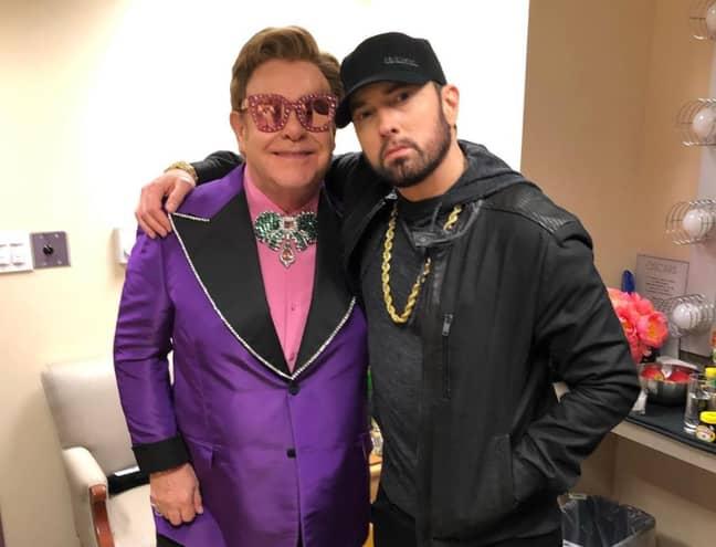 Eminem at The Oscars with Elton John in February 2020 (Credit: Instagram/eminem)
