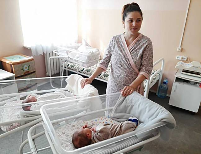 Liliya said the births were a 'miracle'. Credit: east2west news