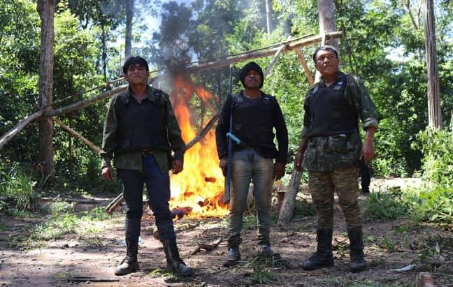 Mr Guajajara (centre) was shot dead by illegal loggers. Credit: Sarah Shenker/Survival International