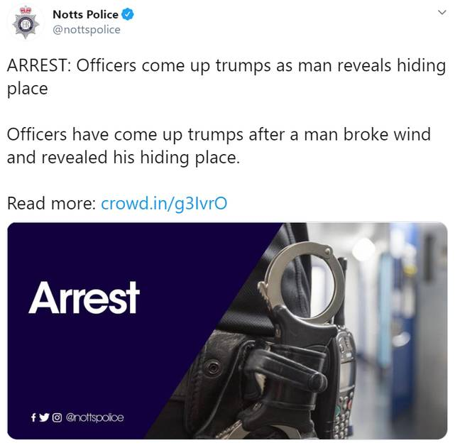 Yes, we get it. Credit: Nottinghamshire Police/Twitter