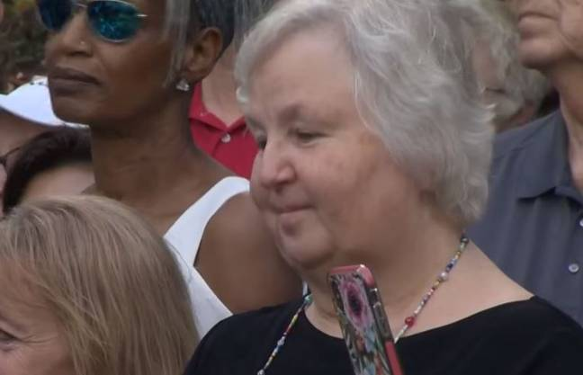 Nancy at her husband's vigil put on by students. Credit: NBC/KGW News