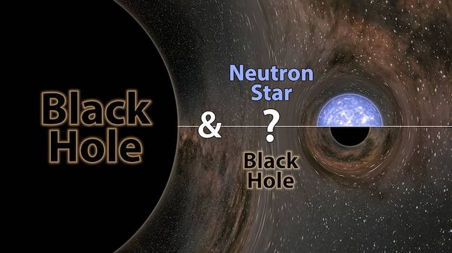 It's not known if the companion was a neutron star or a black hole, but either way it set a record as being either the heaviest known neutron star or the lightest known black hole. Credit: LIGO/Caltech/MIT/R. Hurt