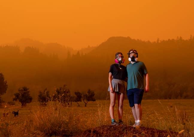 Mairead Milan and boyfriend Alex Loznak pose for a portrait near Elkton, Oregon. Credit: PA