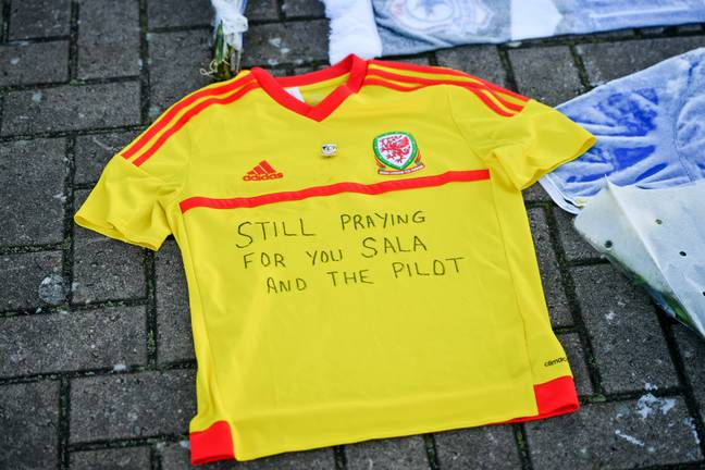 A tribute for Sala and Ibbotson outside Cardiff City Football Club. Credit: PA
