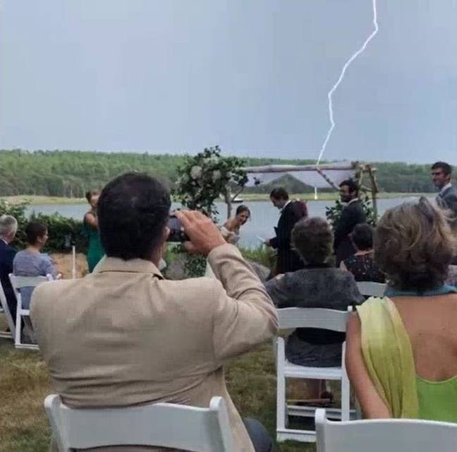 A bolt of lightning struck during the ceremony. Credit: Aaron Sawitsky