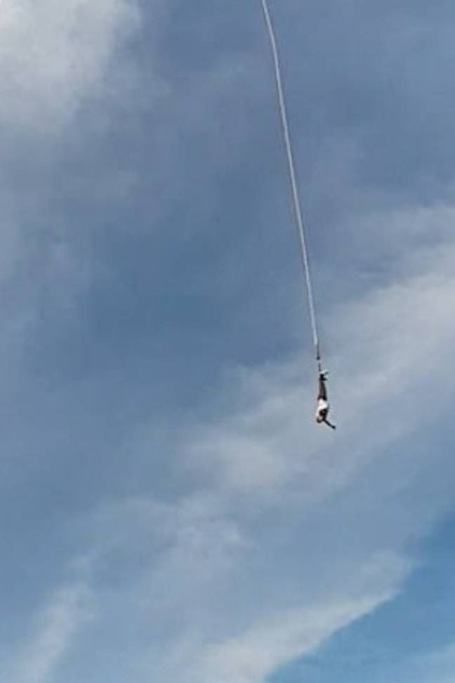 The man came loose from the chord during a jump in Poland. Credit: Worldwide.Modern.Technology