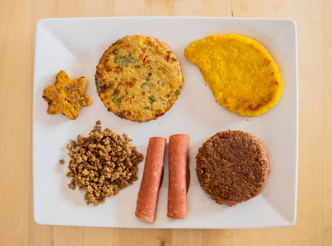 A plate of vegan and vegetarian meat substitutes. Credit: PA