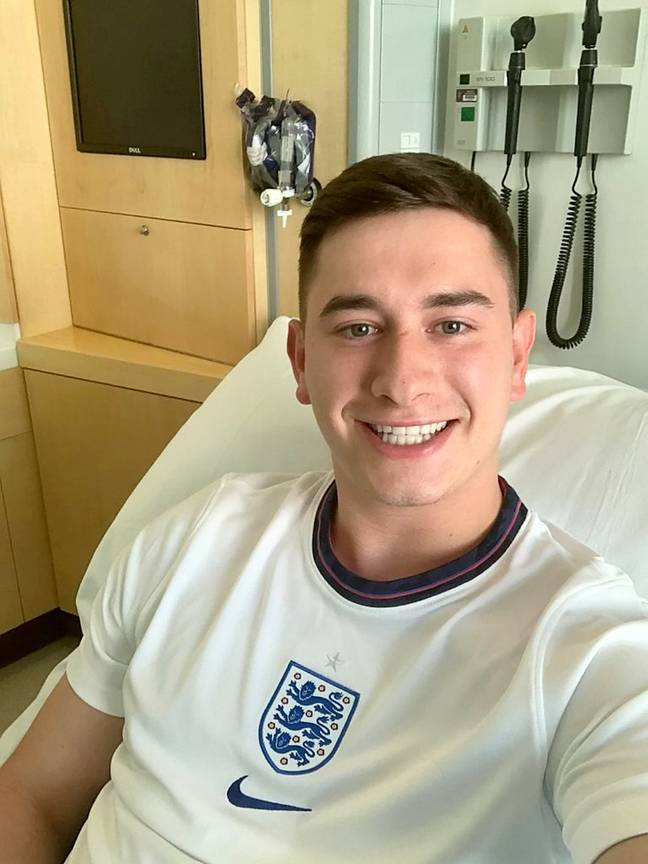 Sam Astley gave up his ticket to the Euro 2020 semi-final so that he could save lives. Credit: SWNS