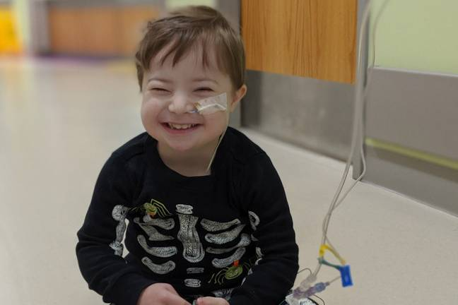 Three-year-old cancer-sufferer Hyrum watches Moana on loop to stay strong. Credit: GoFundMe/April Harris