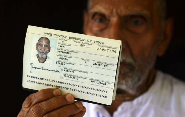 Swami Sivananda shocked airport staff when they saw the date of birth on his passport. Credit: Getty