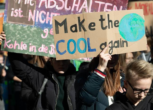 Children protest against climate change in London. Credit: PA