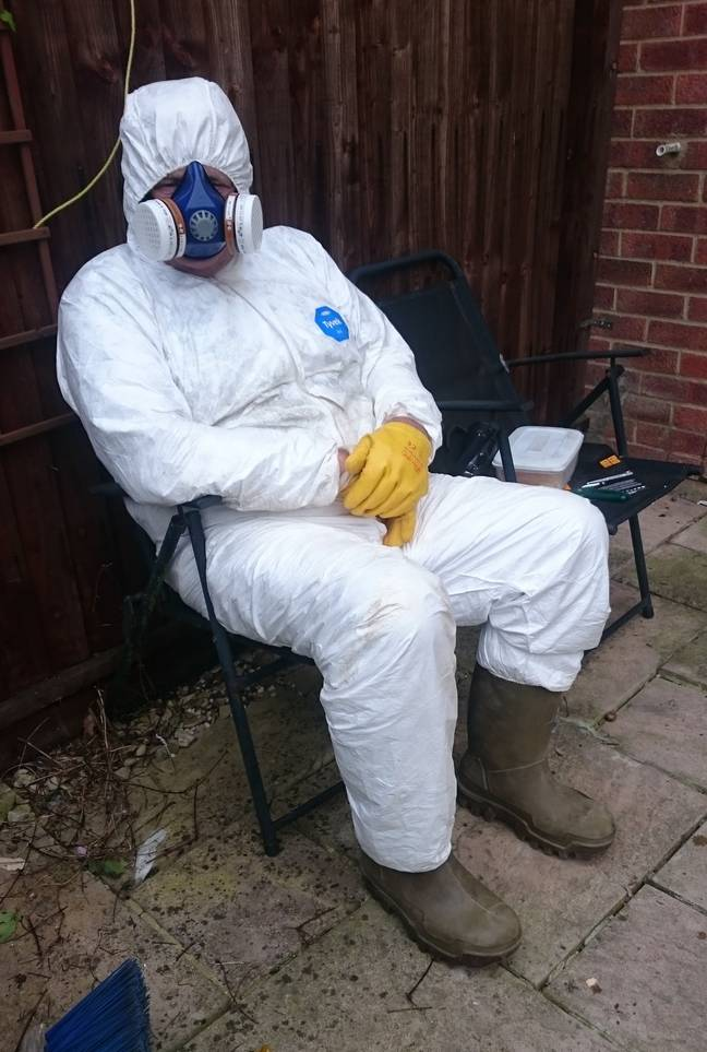 Tommy in his hazmat suit. Credit: Kennedy News and Media