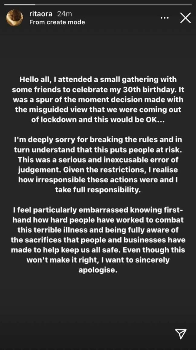 Ora apologised after the event and volunteered to pay a £10,000 fine. Credit: Instagram