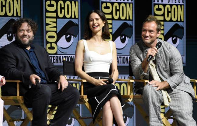 Dan Fogler, Katherine Waterston and Jude Law speak at the Warner Bros. Theatrical panel for 'Fantastic Beasts: The Crimes of Grindelwald'. Credit: PA