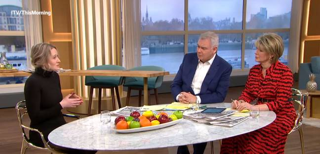Kate Dawson chatting to This Morning hosts Eamonn and Ruth. Credit: ITV