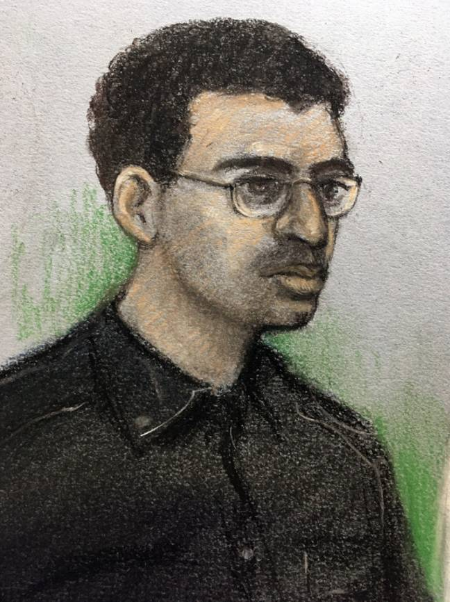 Court sketch of Abedi from earlier this year. Credit: PA