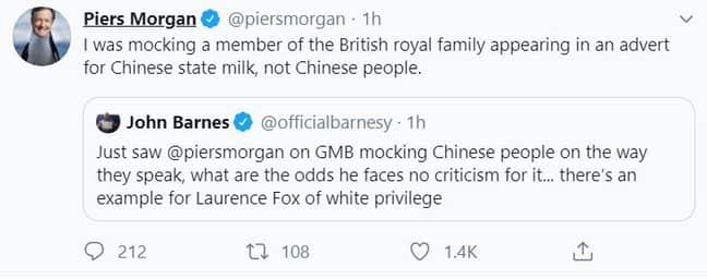The exchange between John Barnes and Piers Morgan. Credit: Twitter
