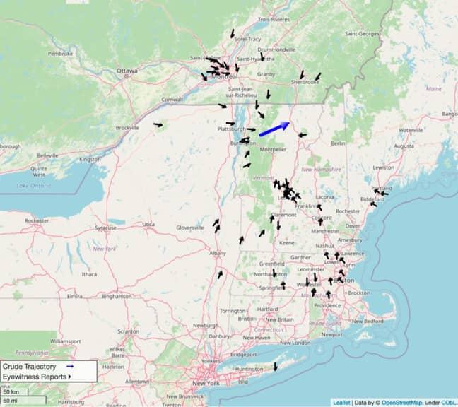Mapa que muestra todas las observaciones reportadas del meteorito de Vermont.  Crédito: NASA / OpenStreetMap