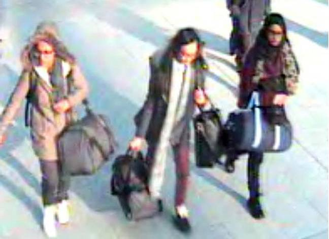 Shamima Begum captured on CCTV in 2015 on her way to the Middle East. Credit: PA