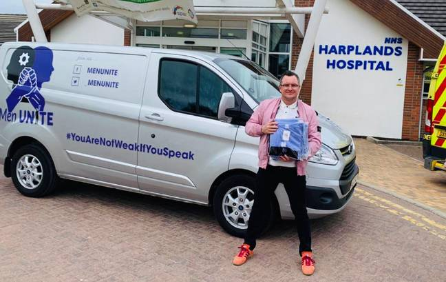 Craig dropping off PPE at a local hospital via the Men Unite van. Credit: Craig Spillane