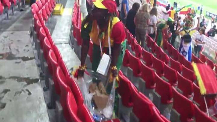 Senegalese and Japanese Fans Celebrate World Cup Wins By Cleaning The Stadium