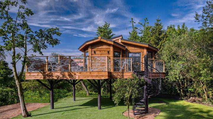 This Amazing Treehouse For Grown-Ups Has A Hot Tub And Flat Screen TV