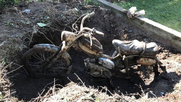 Dad Surprised To Find Entire Motorbike Buried In His Back Garden
