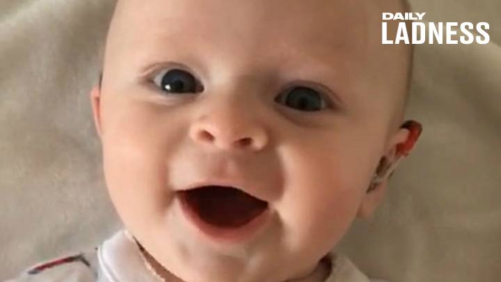 Heartwarming Video Shows Baby Smiling When Dad Turns Her Hearing Aids On