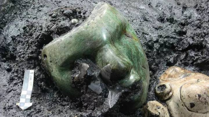 People Terrified By 2,000-Year-Old Green Mask Found At Pyramid