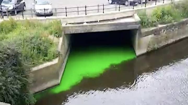 Commuters Stunned As Leeds River Glows 'Ninja Turtle' Green