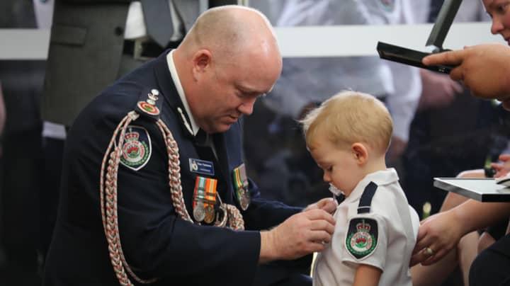 Toddler Son Of Volunteer Firefighter Receives Medal For Dad Killed In Bushfires