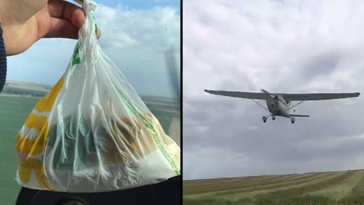 Pilot Helps Out A Mate By Dropping Him A Subway From His Plane
