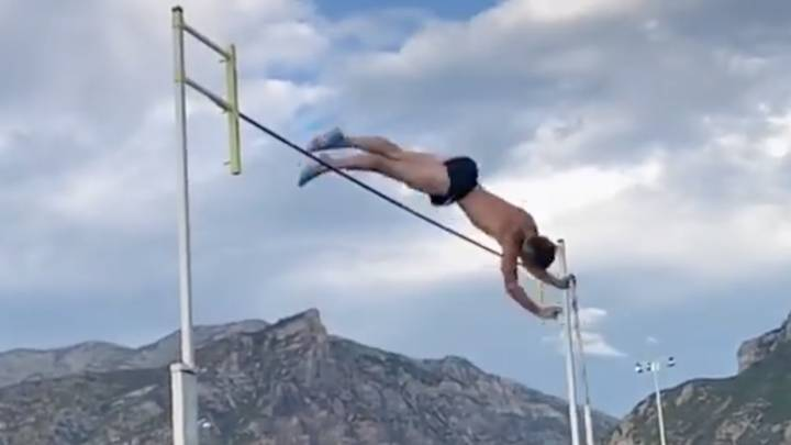 Athlete Caught On Film As Pole Vault Hits His Testicles
