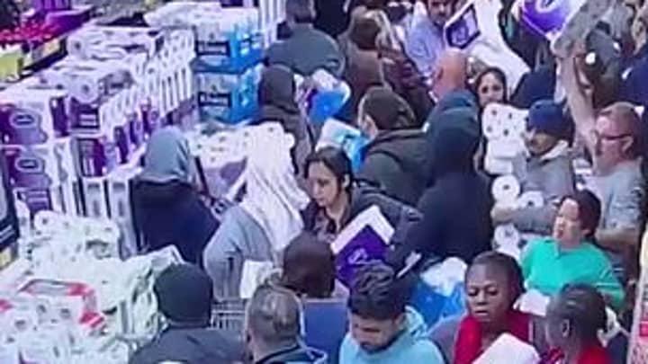 Unbelievable Stampede For Toilet Paper Caught On CCTV In Wake Of Coronavirus Outbreak