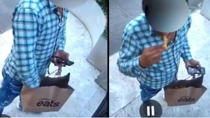 Moment A UberEats Driver Caught Eating Customer's Chips