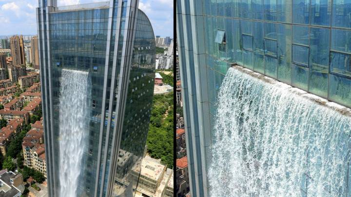 Chinese Company Builds 350ft Tall Waterfall On The Side Of A Skyscraper