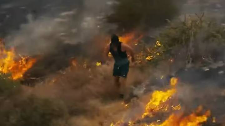 Jogger Tries To Put Wildfire Out With His Feet