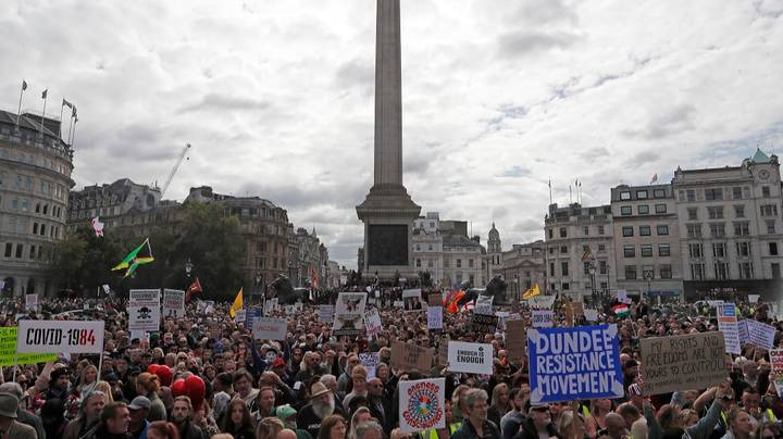 Thousands Gather For Anti-Lockdown Protest In Central London