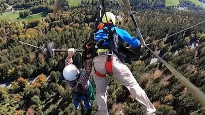 First Time Hang-Glider Clings On For Dear Life As Flight Goes Wrong