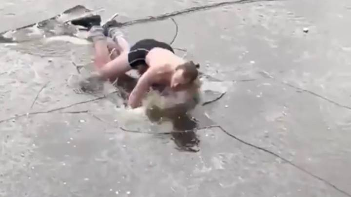 Man Goes Ice Skating Half-Naked And Face Plants On Frozen Canal