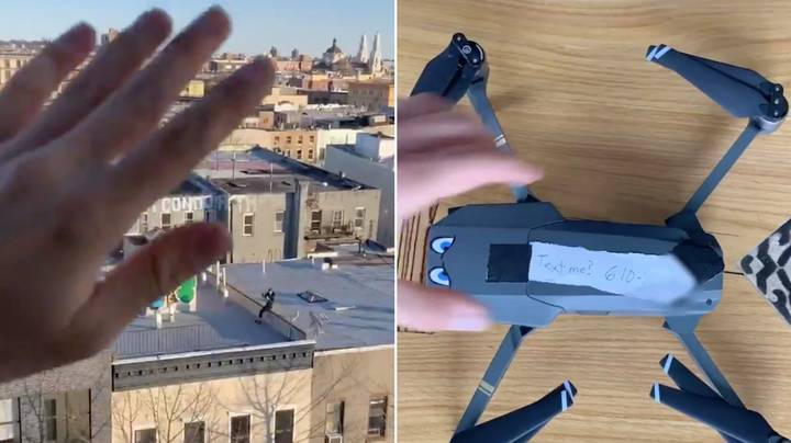 Man Uses Drone To Fly His Phone Number Over To Woman During New York Lockdown