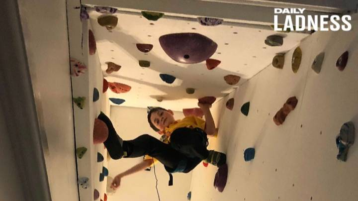 Dad Creates Amazing Climbing Wall Over Staircase For His Two Sons