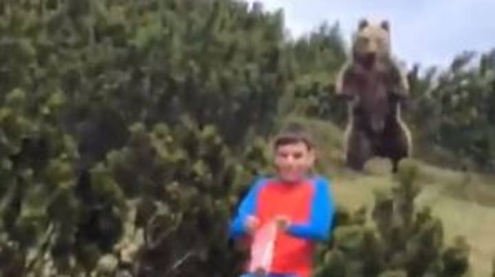 Boy's Incredible Reaction Shows Just What To Do When Being Stalked By A Bear