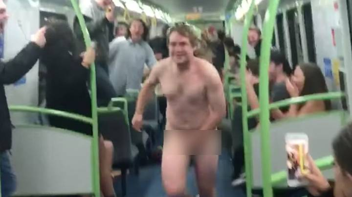 Naked Man With Mullet Filmed Sliding Down Train Carriage