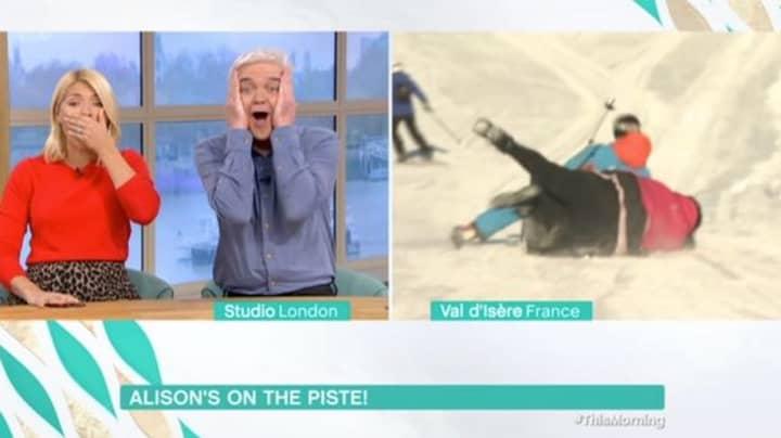 Alison Hammond Takes A Tumble During Live Ski Segment On 'This Morning'