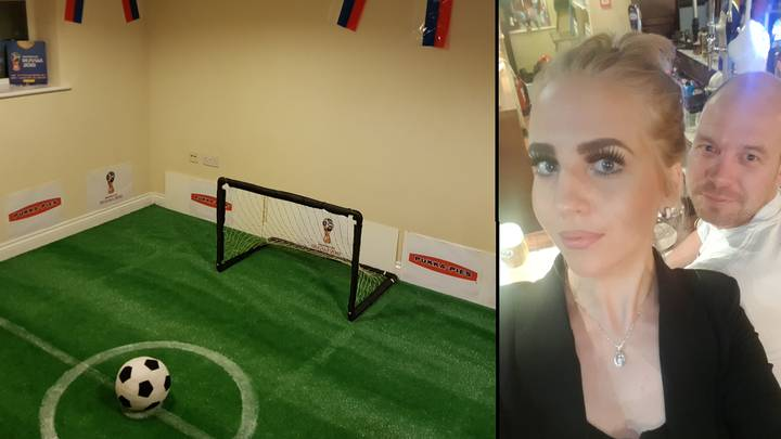 Woman Comes Home To Find Her Fella Has Turned Living Room Into Football Pitch